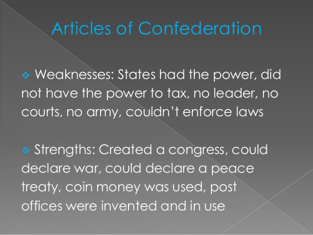 strengths and weaknesses of the articles of confederation essay